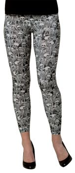 Leggings Skeletons Adult - Adult Medium