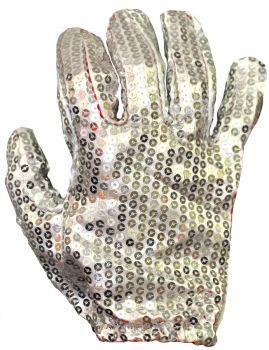 Glove White Sequin