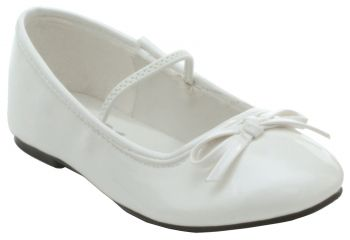 Girl's Flat Ballet Shoe - White - Child Shoe L (2 - 3)
