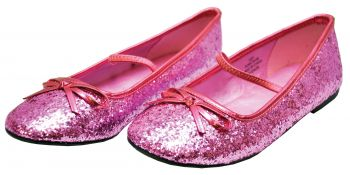 Girl's Glitter Flat Ballet Shoe - Pink - Child Shoe XL (4 - 5)