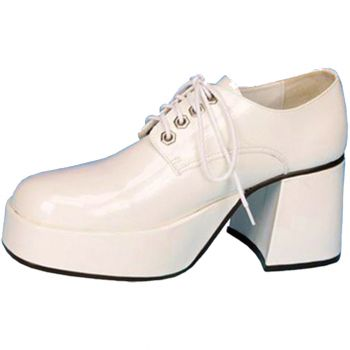 Men's Patent Leather Platform Shoe - White - Men's Shoe S (8 - 9)