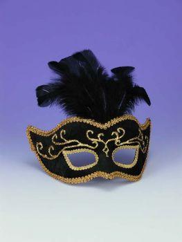 Half Style Mask Bk W Gold Trim