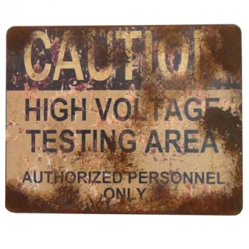 High Voltage Testing Area Sign