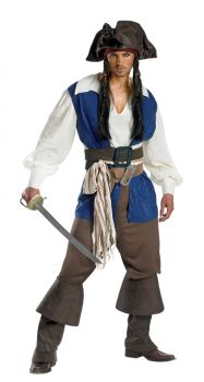 Men's Captain Jack Sparrow Deluxe Costume - Pirates Of The Caribbean - Adult XL (42 - 46)