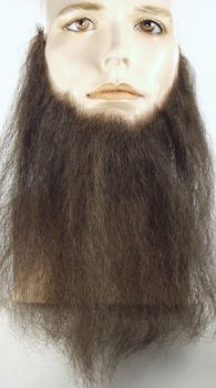 "10"" Long Full-Face Beard - Human Hair - Light Brown"