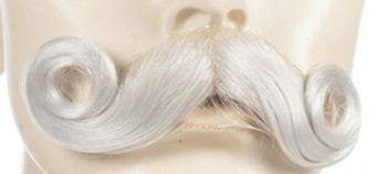 Extra Full Curl M77 Mustache - Human Hair - Light Brown