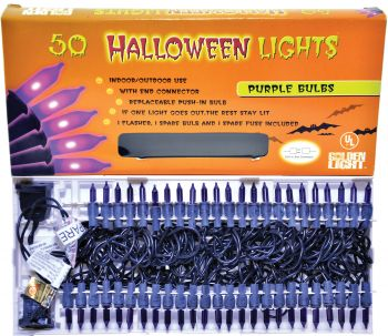 50-Count Halloween Lights With Connector - Purple