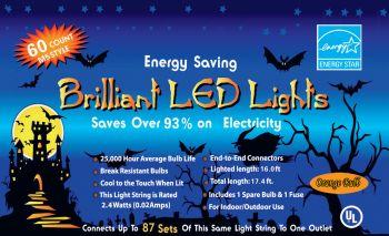 60-Light M5 LED Halloween Lights - Orange