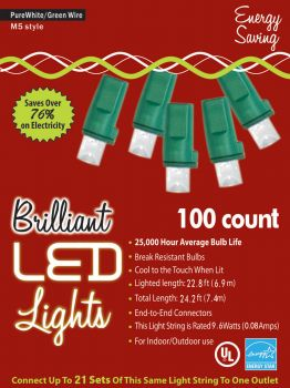 100-Count M5 Holiday Lights - Pure White