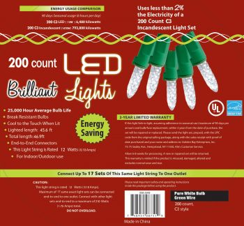 200-Count C3 Holiday Lights - Pure White