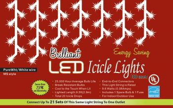 100-Count C3 Holiday Lights - Icicle