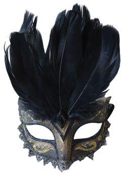 Women's Carnival Eye Mask - Black/Gold