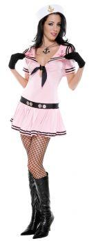 Women's Sassy Sailor Pink Costume - Adult M/L (6 - 9)