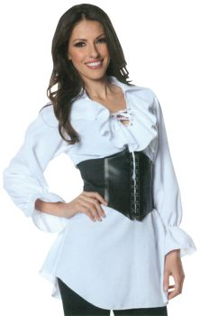 Plus Size Laced-Front Pirate Blouse - Adult 2X