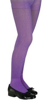 Purple Glitter Tights Child Lg
