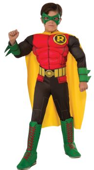 Boy's Deluxe Photo-Real Muscle Chest Robin Costume - Child Small