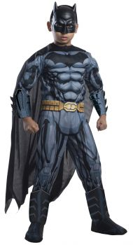 Boy's Deluxe Photo-Real Muscle Chest Batman Costume - Child Small