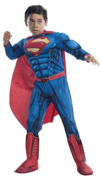 Boy's Deluxe Photo-Real Muscle Chest Superman Costume - Child Small