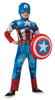 Boy's Deluxe Muscle Captain America Costume - Child Medium