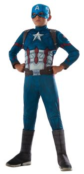 Boy's Deluxe Muscle Captain America Costume - Child Large