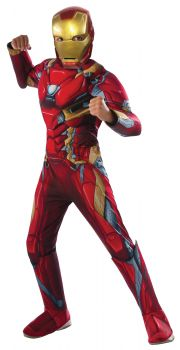 Boy's Deluxe Muscle Iron Man Costume - Child Small