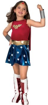 Girl's Deluxe Wonder Woman Costume - Child Large