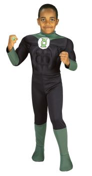 Boy's Deluxe Muscle Chest Green Lantern Costume - Child Large