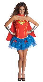 Women's Wonder Woman Flirty Corset Costume - Adult Large