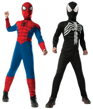 Boy's 2 In 1 Reversible Muscle Chest Spider-Man Costume - Child Medium