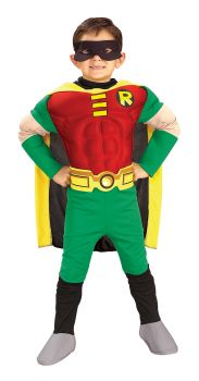 Boy's Deluxe Muscle Robin Costume - Teen Titans - Child Large