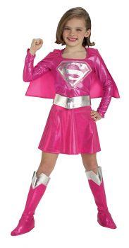 Girl's Deluxe Pink Supergirl Costume - Child Medium
