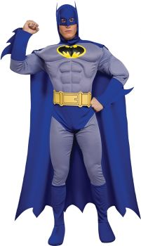 Men's Deluxe Muscle Batman Costume - Brave & The Bold - Adult Large