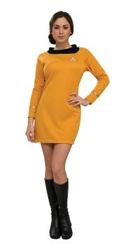 Women's Deluxe Gold Star Trek Dress - Adult Medium