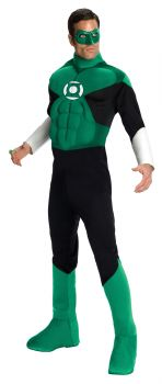 Men's Deluxe Muscle Chest Green Lantern Costume - Adult Large