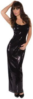 Women's Long Sequin Dress - Black - Adult Large