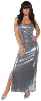 Sequin Dress Long Silver Ad Md