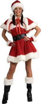 Women's Sexy Velvet Miss Santa Dress - Adult Medium