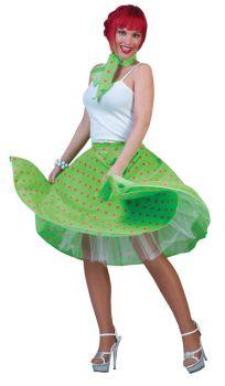 Sock Hop Skirt Adult - Green/Pink