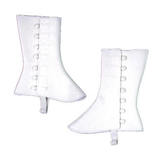 "Adult 9"" White Vinyl Spats - Adult Shoe S/M"