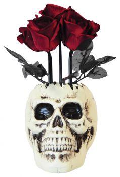 Skull Vase With Roses