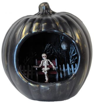 Pumpkin Prop With Light Up Haunted Scene