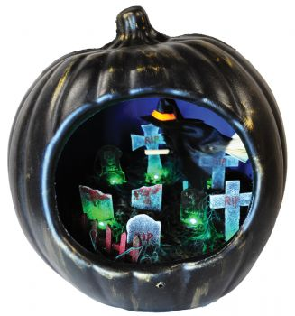 Pumpkin With Witch & Tombstone Scene