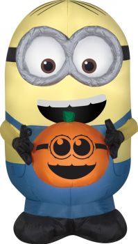 Airblown Dave Holding Pumpkin Small Inflatable Prop - Minions
