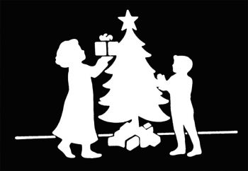 Stencil Christmas Tree Family