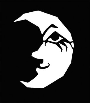 Stencil Crescent Moon W Face