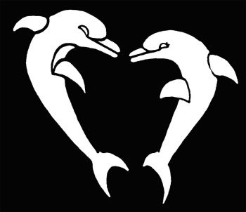 Stencil Heart Shapd Dolphins