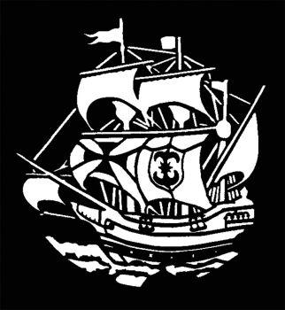 Stencil Sailing Ship Early Ame