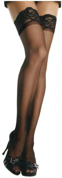 Sheer Lycra Stay-Up Thigh-Highs - Black - Adult Plus Size