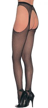 Nylon Fishnet Suspender Pantyhose - Adult Plus Size