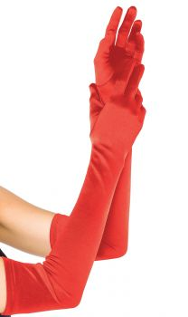 Extra-Long Satin Gloves - Red